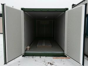 Åben containerdøre